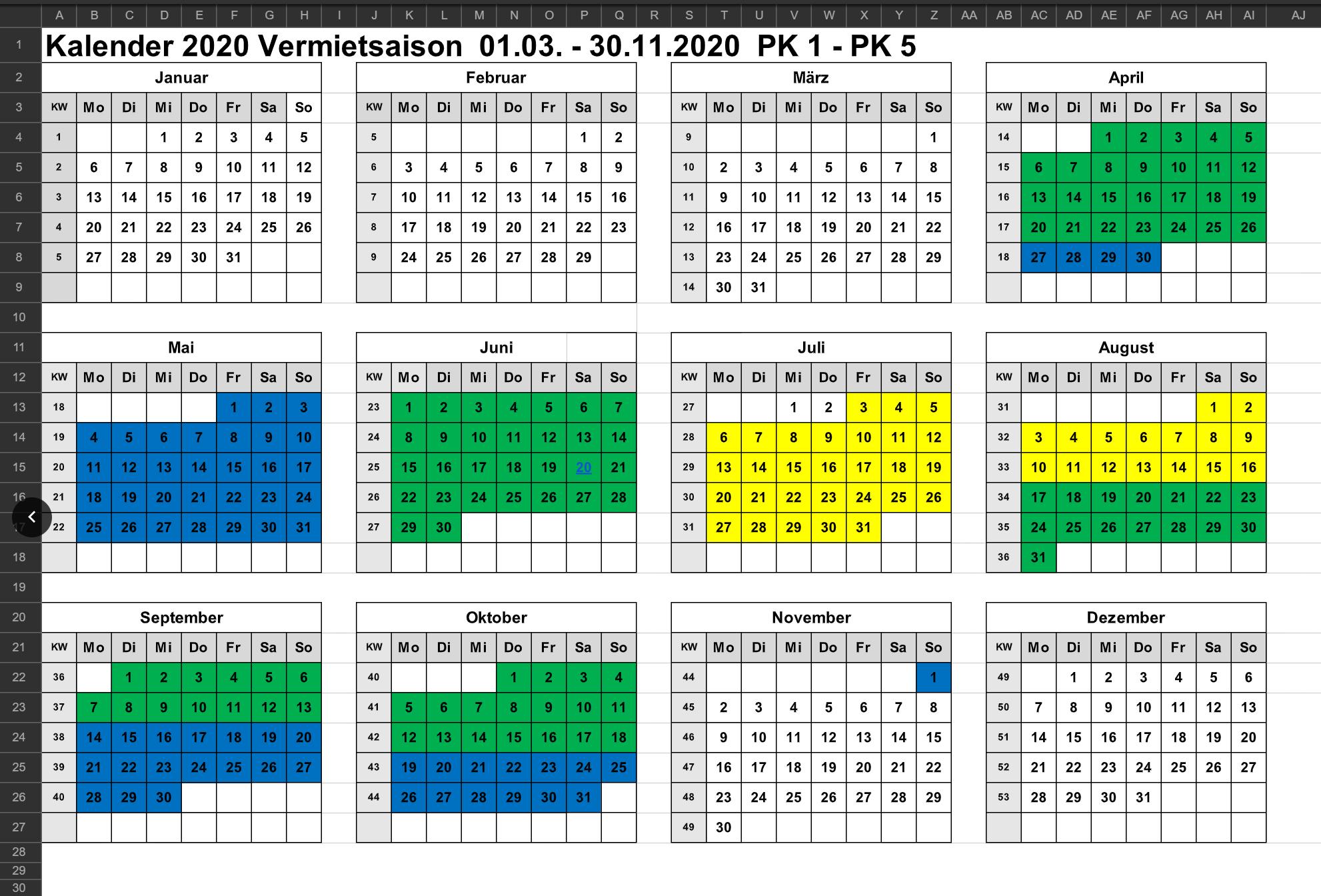 Wohnmobil Mieten Saisonkalender 2020